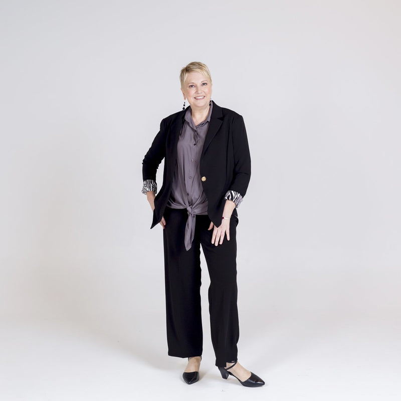 Kerryn blazer black with Cate technical shirt sage and Laura side zip wide leg pants black.