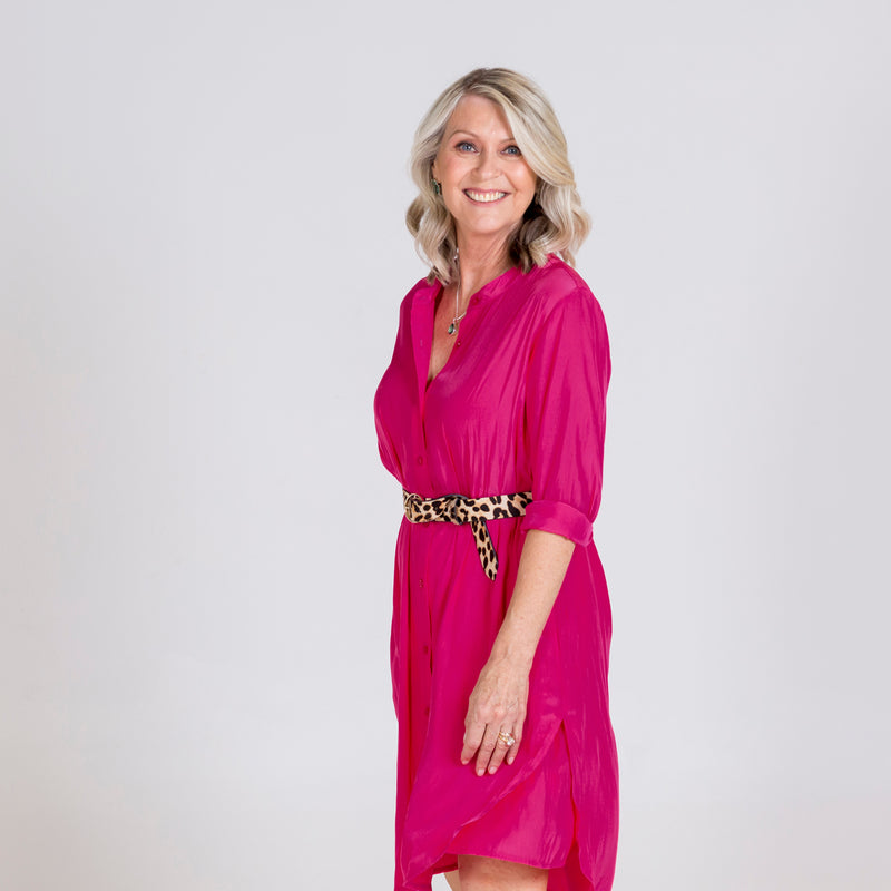Danielle technical shirt dress raspberry, styled with leopard print belt.