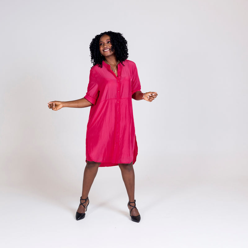 Danielle technical shirt dress raspberry