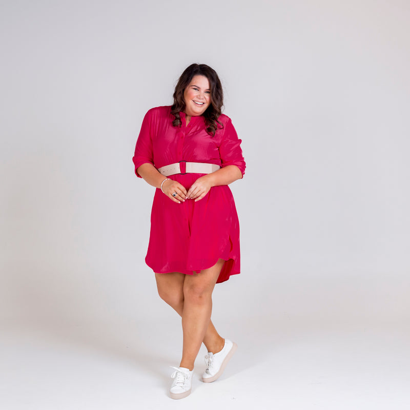 Danielle technical shirt dress raspberry, styled with blush belt.