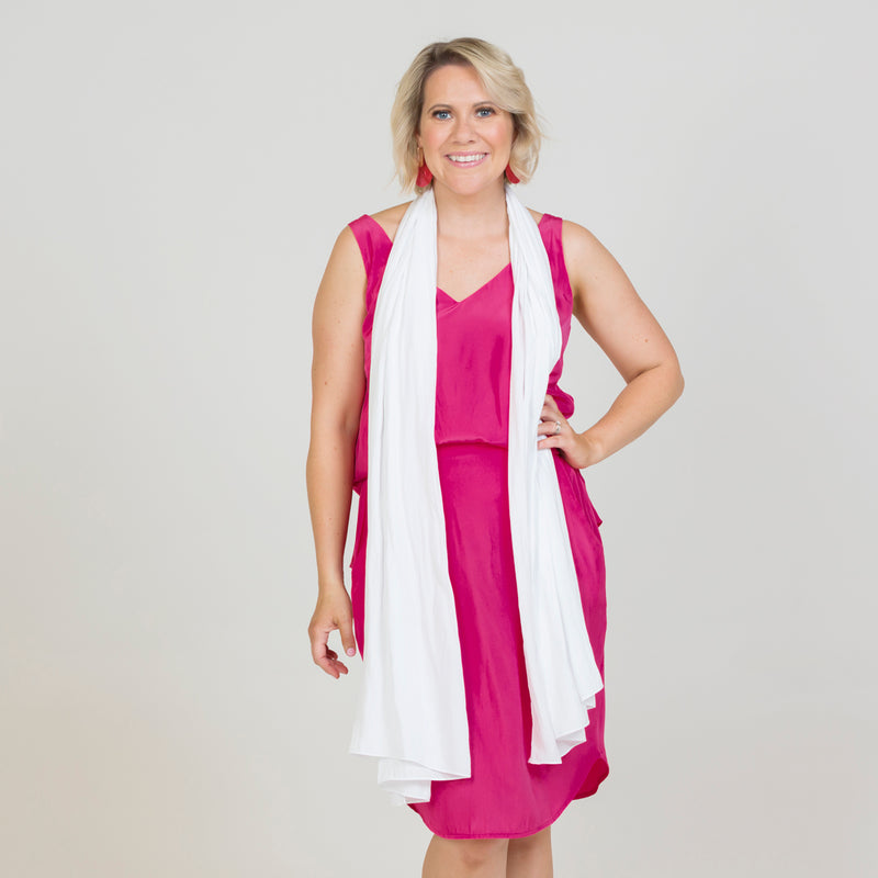 Dianne scarf/wrap - white with raspberry dress