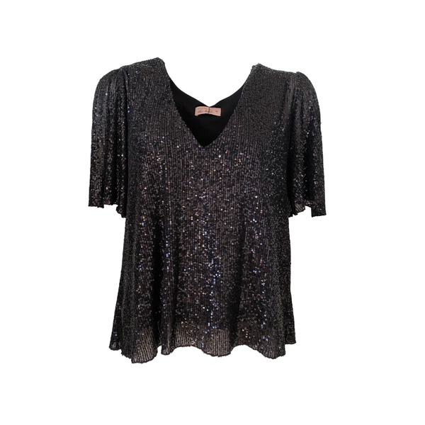 Caitlin sequin blouse in black