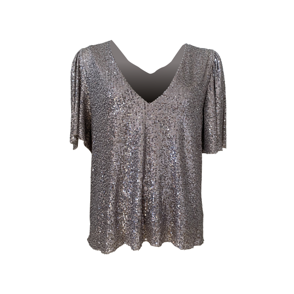 Caitlin sequin blouse in silver