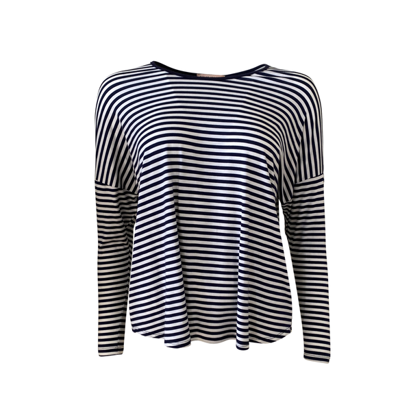 Steph long-sleeve relaxed tee - navy stripe