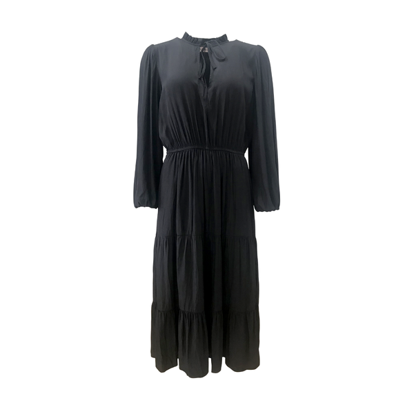 Edwina billow sleeve mid dress- black
