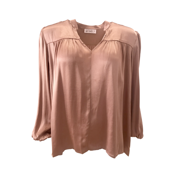 Gwendolyn Satin billow sleeve blouse in toffee
