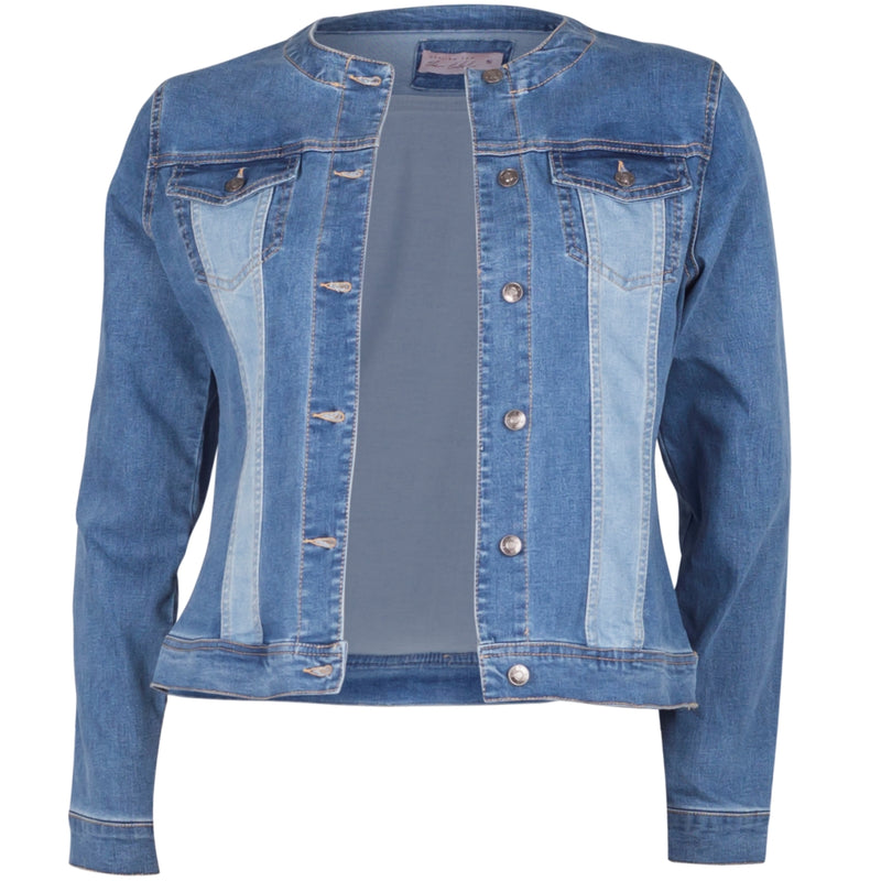 Jodie denim jacket is collarless with six silver buttons down the front. It's its a fitted shape made from a super-stretch denim. It's mostly a mid-wash denim with light wash panelling on the front and back. There are two functional pockets on the top front of the jacket.