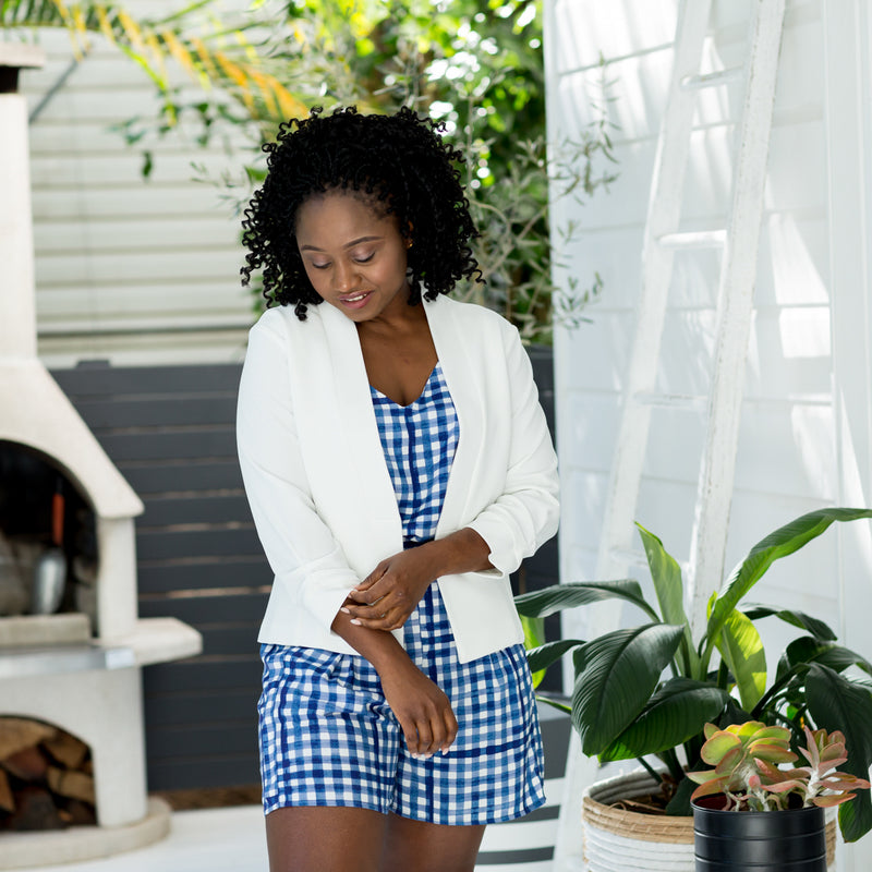 Sonia in our Alexa Cami Gingham, Grace Shorts gingham and our Karen Scuba Jacket Ivory