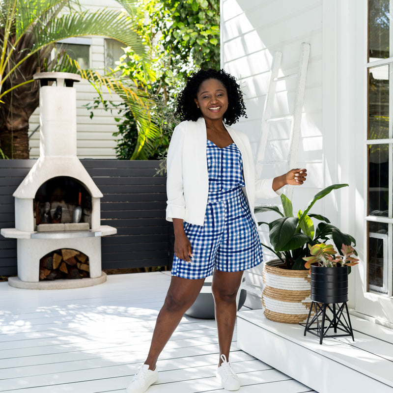 Faaiza in our Karen Scuba jacket ivory, our alex gingham cami and our grace shorts in gingham paired with white sneakers