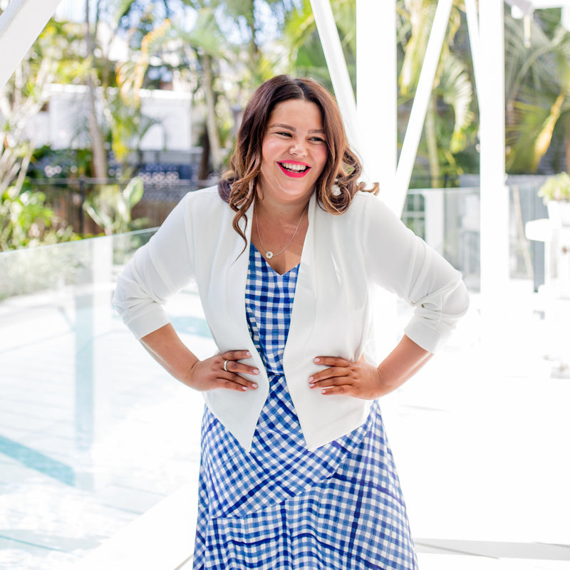 Stacey in our Alexa Cami gingham, our Ashlee midi skirt gingham and our Karen Scuba Jacket in ivory