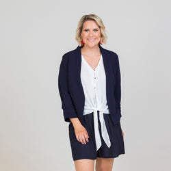 Karen scuba jacket - navy paired with our Cate technical shirt - white, and our Bec shorts in navy