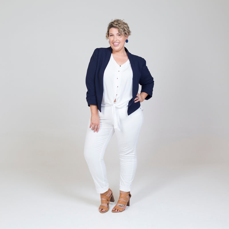 Karen scuba jacket - navy paired with our Cate technical shirt - white, white jeans and nude heels