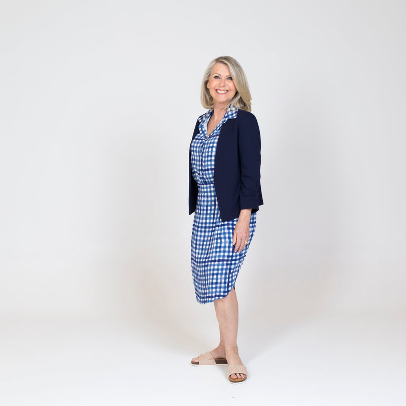 Karen scuba jacket - navy paired with our Kimba Gingham top, a Gingham skirt and nude heels