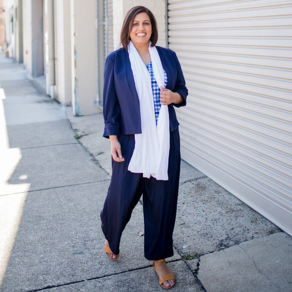 Dianne scarf/wrap - white paired with our  Karen scuba jacket - navy, our Alex Cami - gingham, our Maddy navy pants and brown shoes