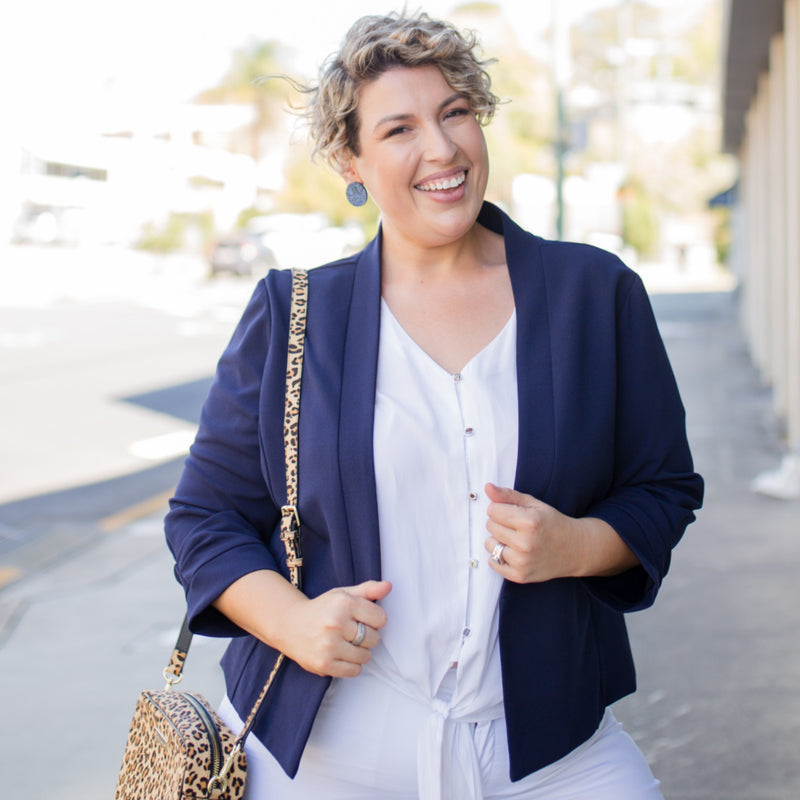 Karen scuba jacket - navy paired with our Cate technical shirt - white, white jeans and a leopard print handbag