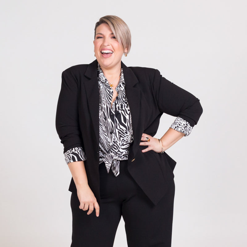 Kerryn blazer black with Sally shirt safari and Laura side zip wide leg pants black.