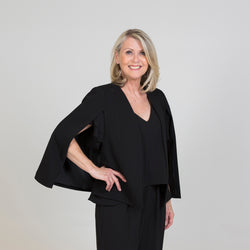 Kirsten cape - black with our Barbara jumpsuit - black