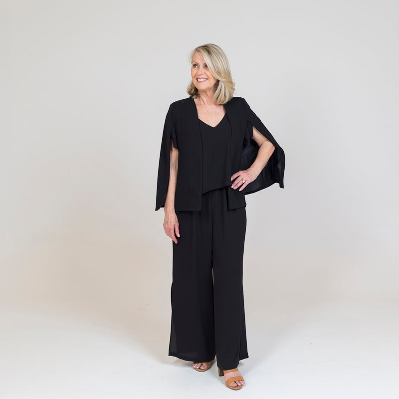 Kirsten cape - black paired with our Barbara jumpsuit - black and nude heels