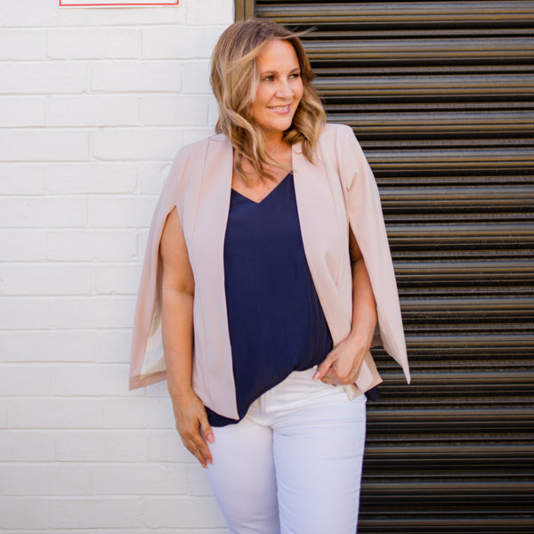 Kirsten cape - blush paired with our Rachel Cami in navy and white jeans