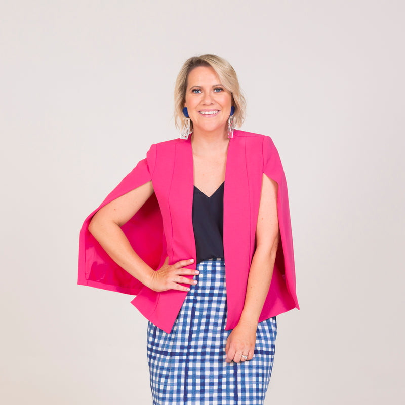 Kirsten cape - paris pink paired with our Rachel cami in navy, and a gingham print skirt