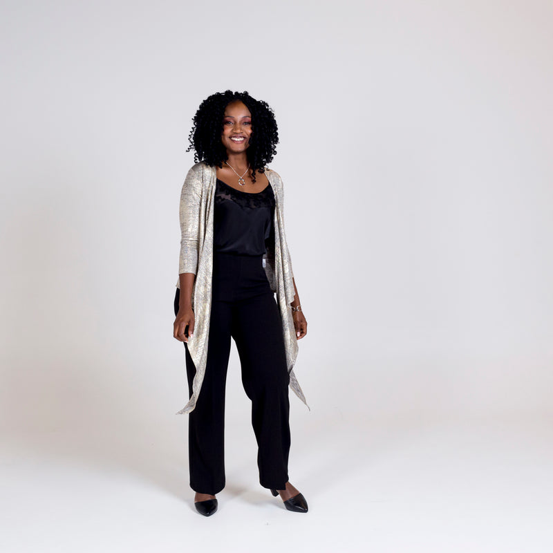 Susan wrap cardi gold, styled with Lesley lace trim cami black and Laura side zip wide leg pant black.