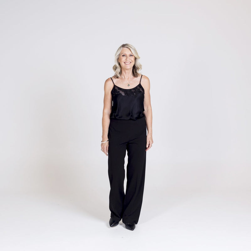 Lesley lace trim cami black with Laura side zip wide leg pant black.