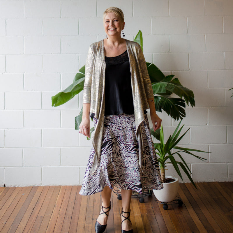 Susan wrap cardi gold, styled with Lesley lace trim cami black and Rylee midi skirt safari.