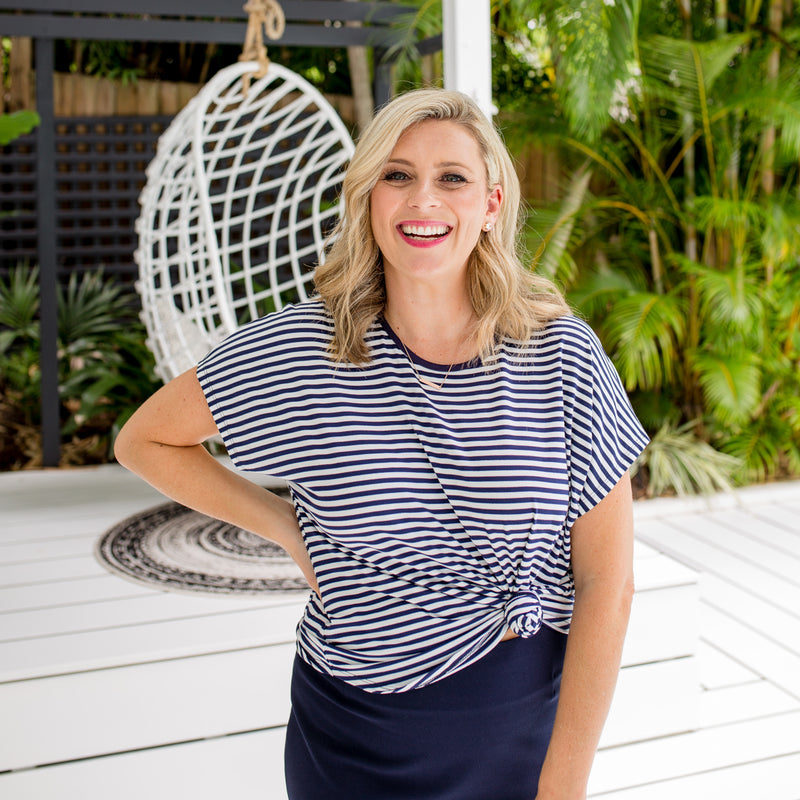Brooke is wearing Melinda stripe tee in navy and white tucked into Fiona scuba pencil skirt in navy