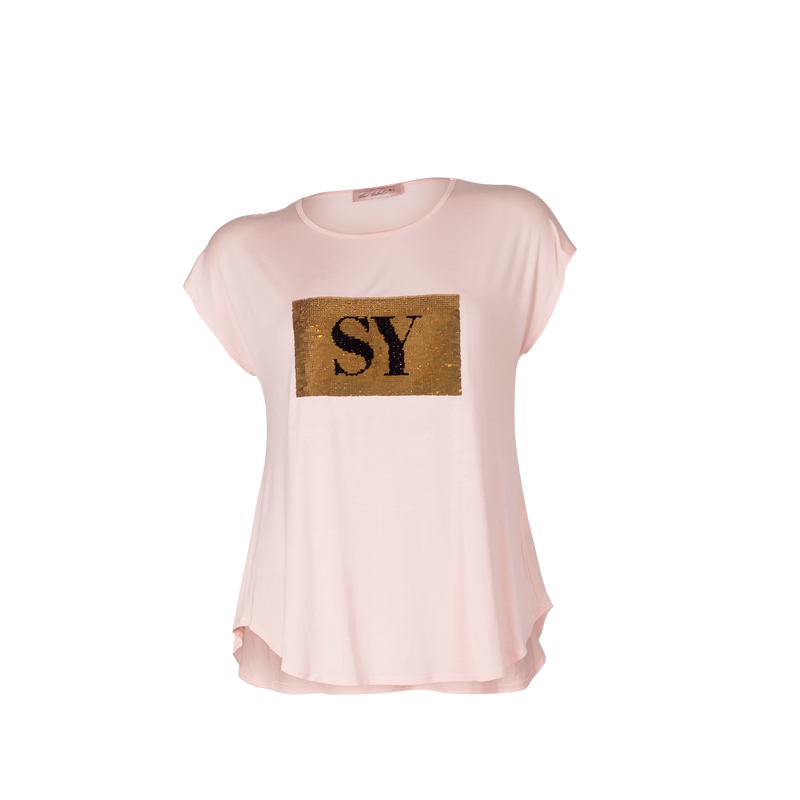Nikki sequin tee blush