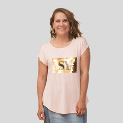 Nikki sequin tee - blush