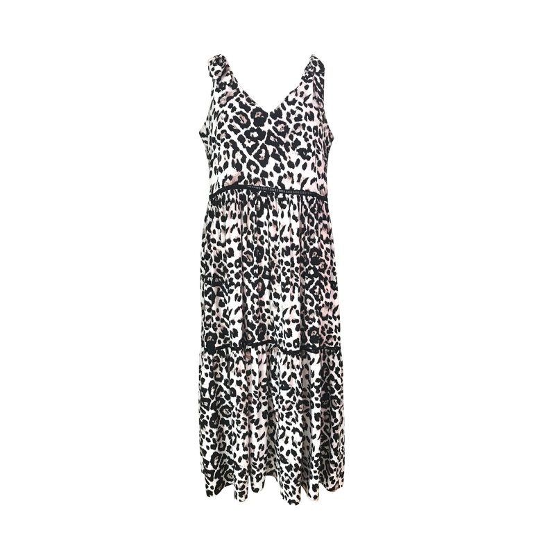 Bev tie shoulder dress in animal print