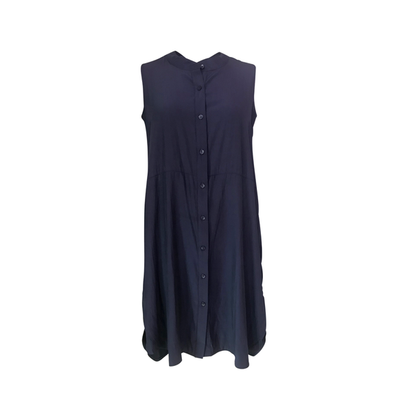 Katy technical sleeveless shirt dress - navy