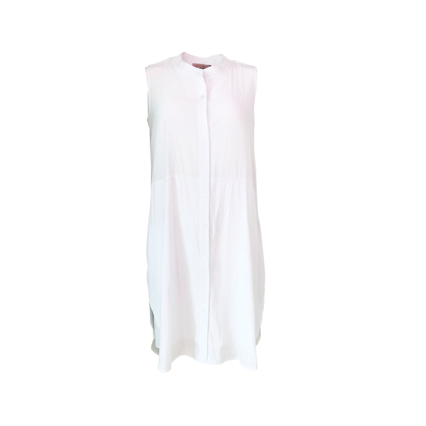 Katy sleeveless technical shirt-dress in white