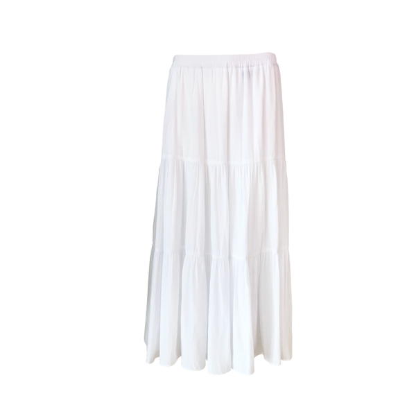 Our Sophie technical tiered maxi skirt in white