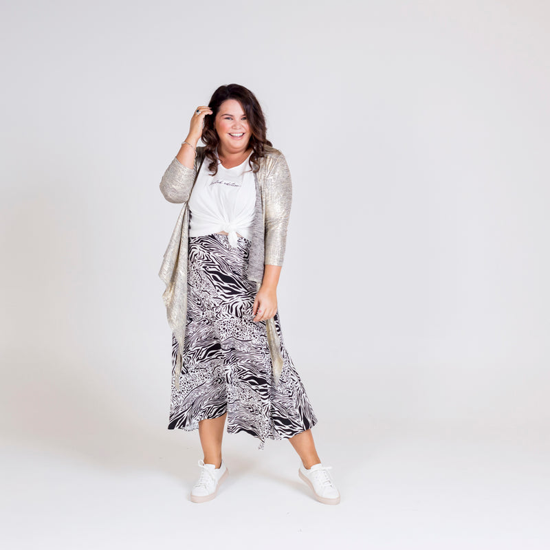 Susan wrap cardi gold, styled with Shanna relaxed tee white and Rylee midi skirt safari.