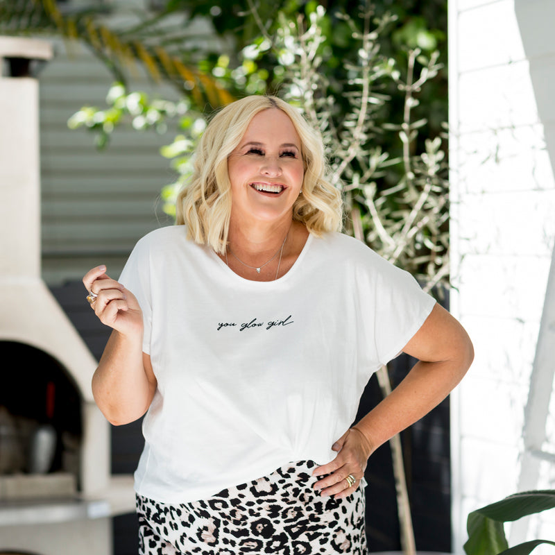 Nikki in our Tanya relaxed tee - white and our Kutira midi skirt - animal print