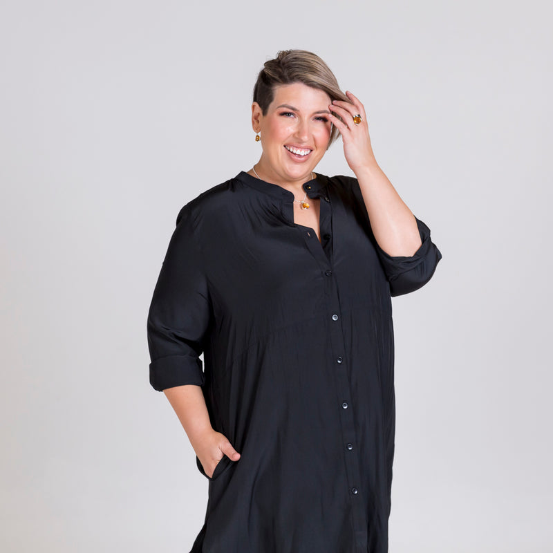Danielle technical shirt dress in black.