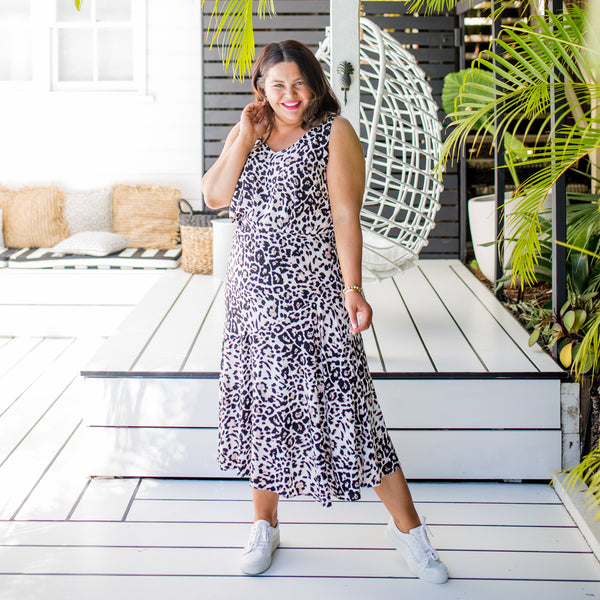 Stacey wearing our  Kutira midi skirt - animal print with our  Brooke cami - animal print and white sneakers