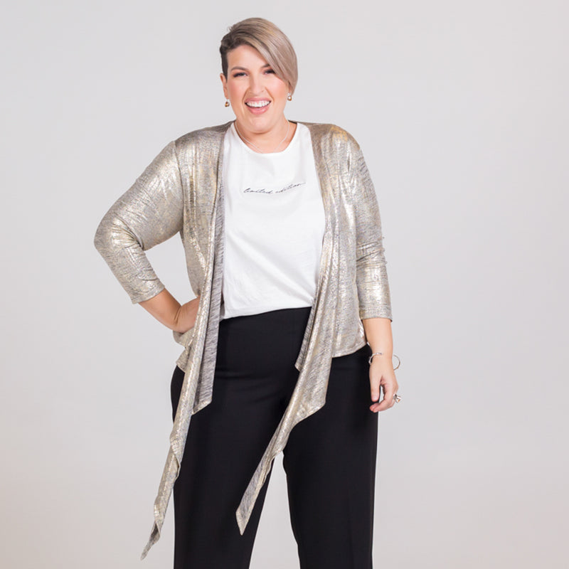 Susan wrap cardi gold, styled with Shanna relaxed tee white and Laura side zip wide leg pant black.
