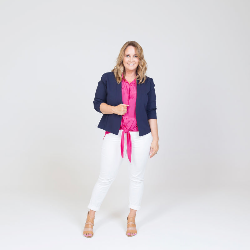 Karen scuba jacket - navy paired with a pink top, white jeans and nude heels