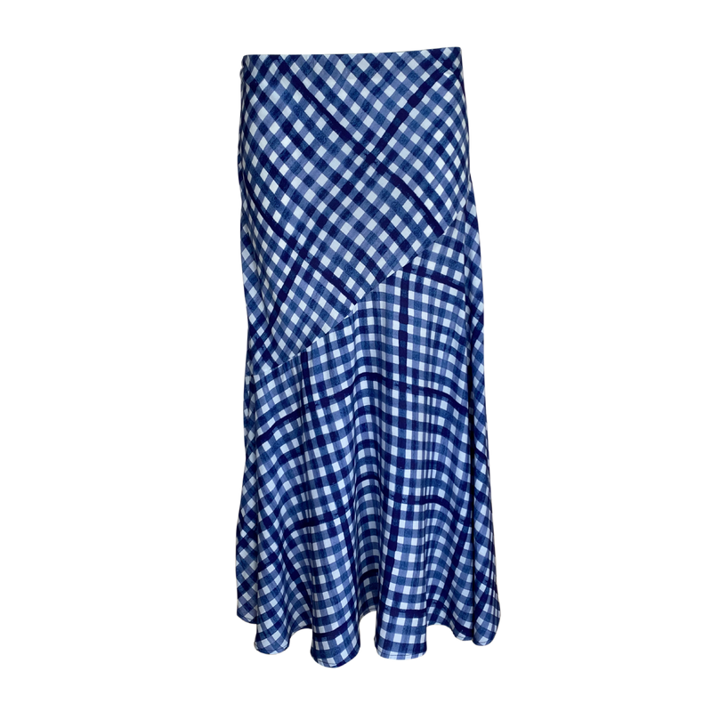 Ashlee midi skirt in blue gingham printed on 100% rayon material.
