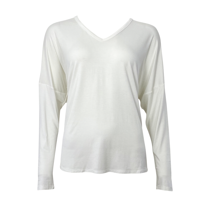 Sharon relaxed long sleeve tee white mannequin image.