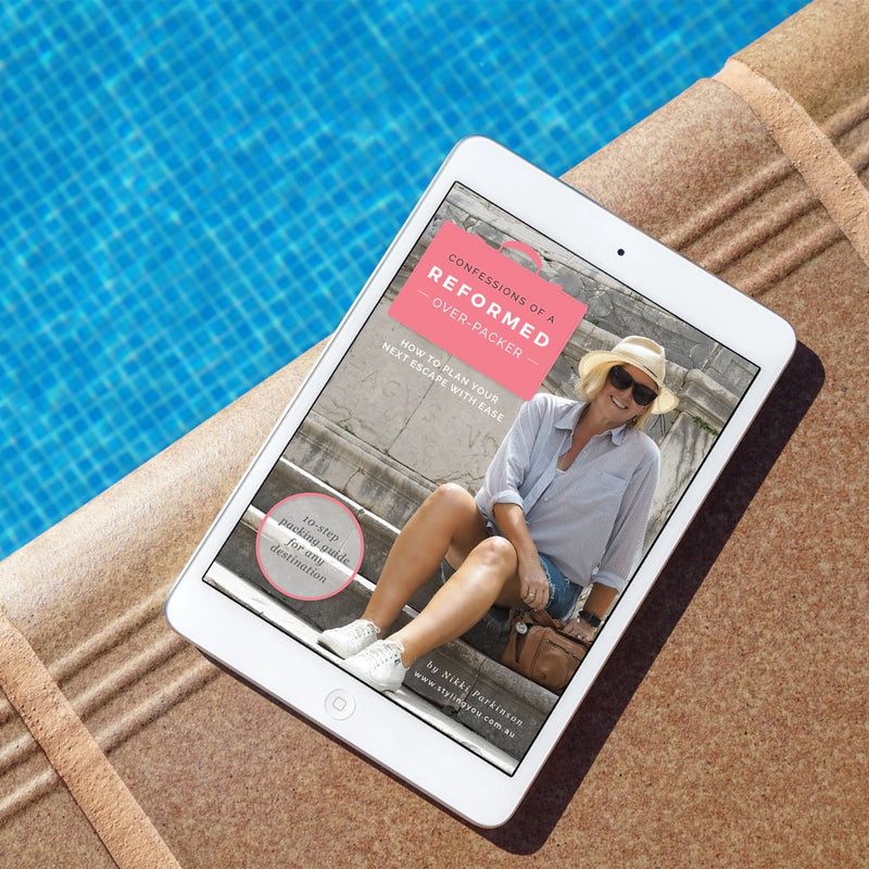 Confessions of a Reformed Over-Packer EBook shown on Ipad - poolside