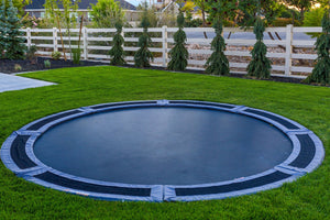 14' Round Down Under Trampoline with Vented Pad & Retaining Wall Bundle