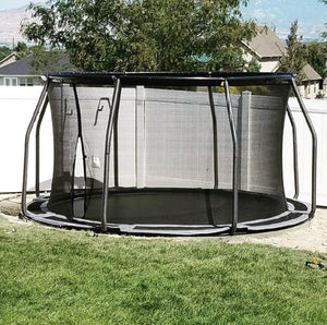 14' Round TDU Trampoline with Vented Pad & Retaining Wall Bundle