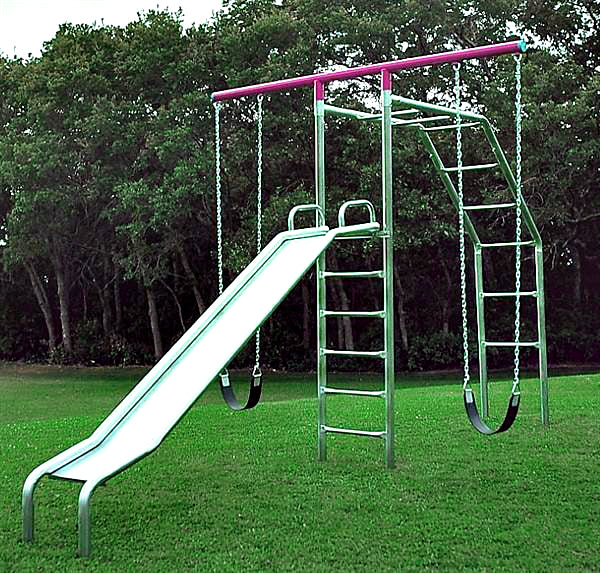 T-Swing Climber with 10' Galvanized Slide