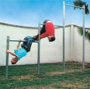 These adjustable (4', 5', 6' length) tri-level bars are durable, easy to install, and will provide hours of fun for a variety of ages in a limited space. Minimum area is 10' X 10'.