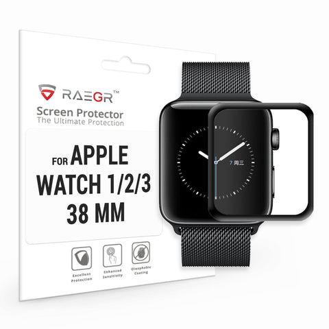 RAEGR Apple Watch 1/2/3-38mm Flex HD Full Cover 3D Fibre Glass