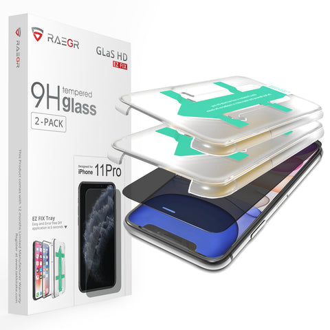 RAEGR EZ Fix Glas HD iPhone 11 Pro 3D Privacy Tempered Glass