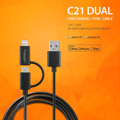 [ Apple MFi Certified ] C21 Dual USB Lightning / Micro Connector Cable